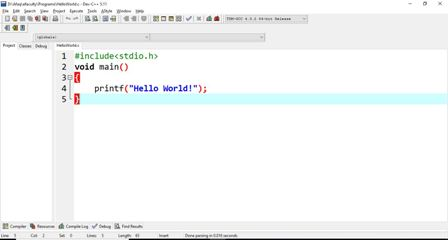 Hello World in Program in C
